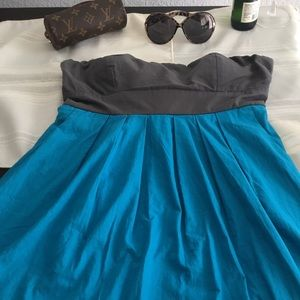 Color block strapless dress bow tie back
